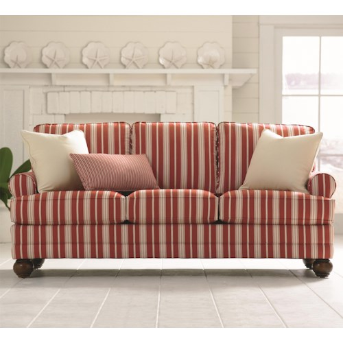 Bassett Custom Upholstery - Loft <b>Customizable</b> Stationary Sofa with Sock Arms and Bun Feet