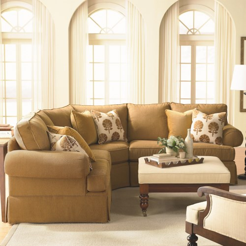 Bassett Custom Upholstery - Manor <b>Customizable</b> 3 pc. Sectional Sofa with Sock Arms and Skirt
