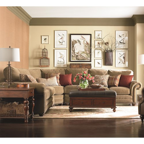 Bassett Custom Upholstery - Manor <b>Customizable</b> 3 pc. Sectional with Nailhead Trim, Panel Arms and Turned Feet