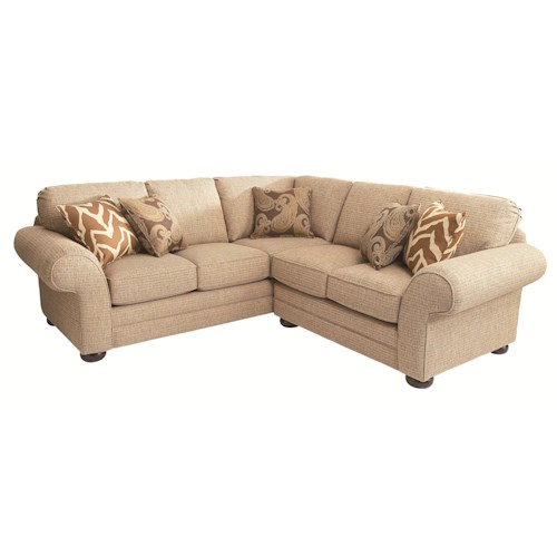 Bassett Custom Upholstery - Manor <b>Customizable</b> 2 pc. Sectional with Sock Arms and Bun Legs