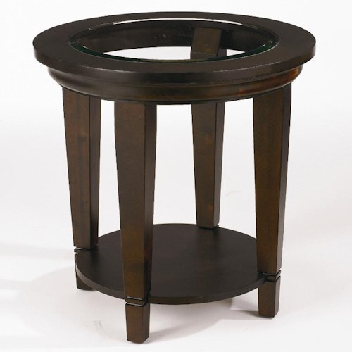Bassett Easton Round Lamp Table with Beveled Glass Insert Top