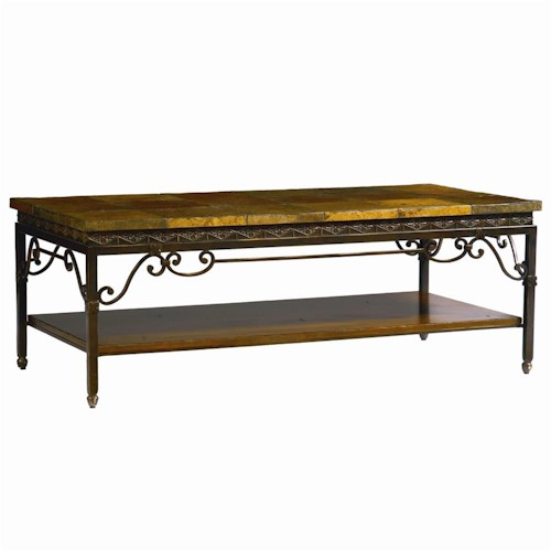 Bassett Elway Home Eclectic Slate Top Cocktail Table with Metal Frame
