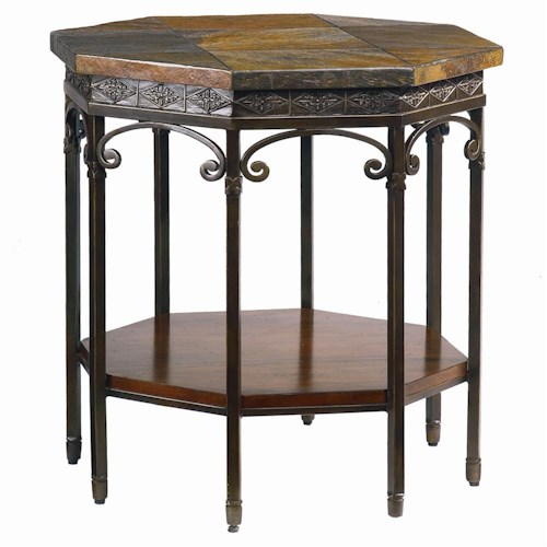 Bassett Elway Home Traditional Octagonal End Table with Slate Tabletop