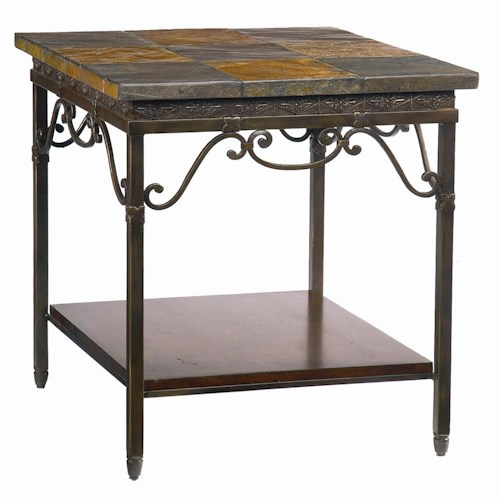 Bassett Elway Home Rectangular End Table with Slate Stone Top