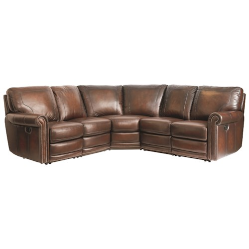 Bassett Hamilton 3958 Traditional 4 Seat Power Reclining Sectional