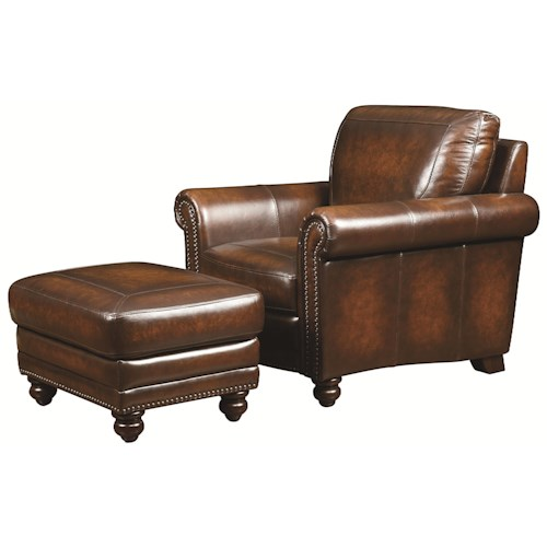 Bassett Hamilton Traditional Leather Chair and Ottoman with Nail Head Trim