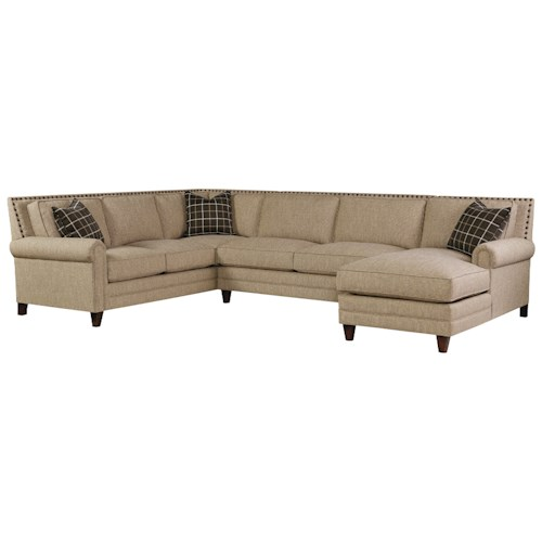 Bassett Harlan Sectional Sofa with 5 Seats (1 is a Chaise)