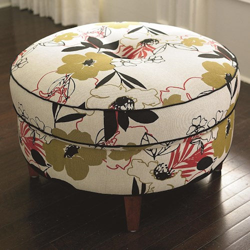 Bassett HGTV HOME Design Studio Casual Round Ottoman with Center Tuft