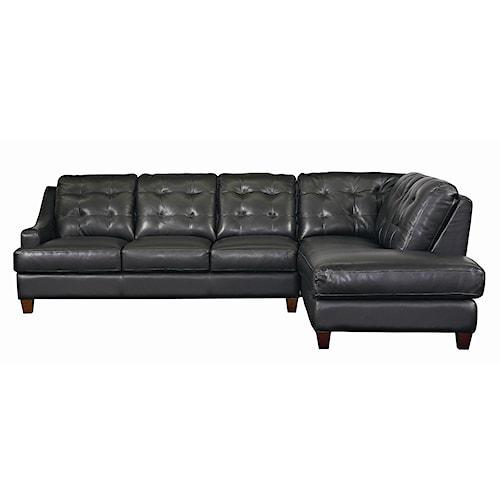 Bassett Mercer Right Chaise Leather Sectional