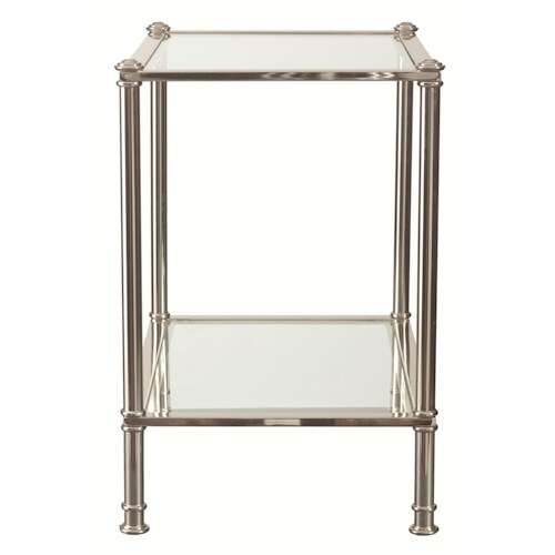 Bassett Metropolitan Chairside Table with Glass Shelf