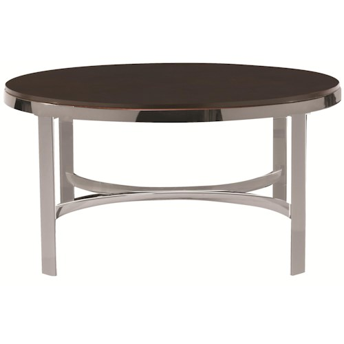 Bassett Sterling Round Coffee Table w/ Wood Top