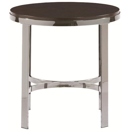 Bassett Sterling Round End Table w/ Wood Top