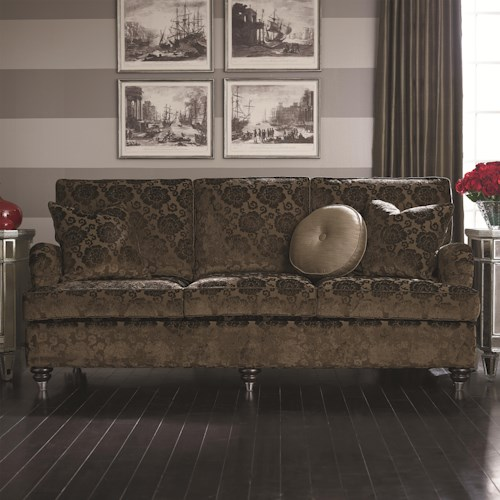 Bassett Custom Upholstery - Townhouse <b>Customizable</b> Queen Sleeper with Charles of London Arms and Turned Feet Ferrules