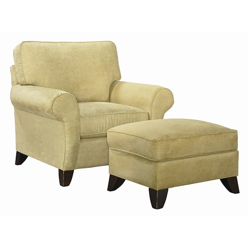 Bassett Tyson  Transitional Chair with Ottoman