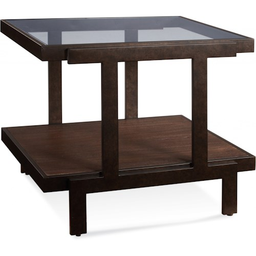 Bassett Mirror Beasley Rectangle End Table with Glass Top