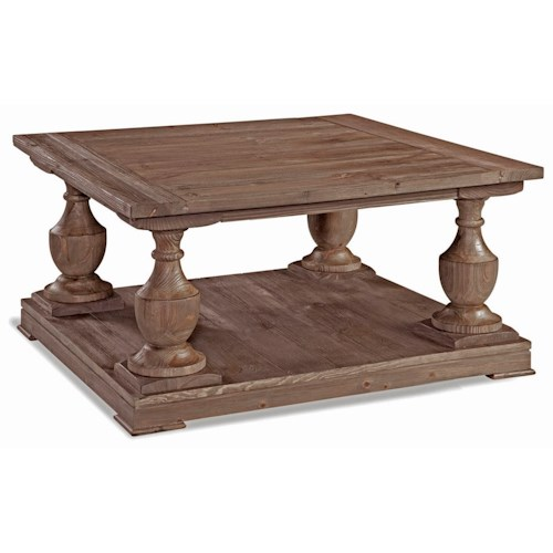 Bassett Mirror Smoked Barnwood Square Cocktail Table