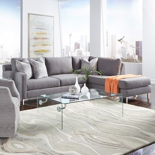 Metro Collection Clarendon Contemporary Sectional with Chaise