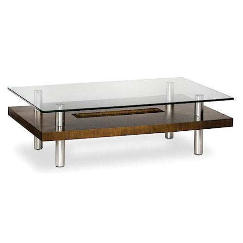 BDI Hokkaido Wood and Glass Coffee Table with Metal Legs