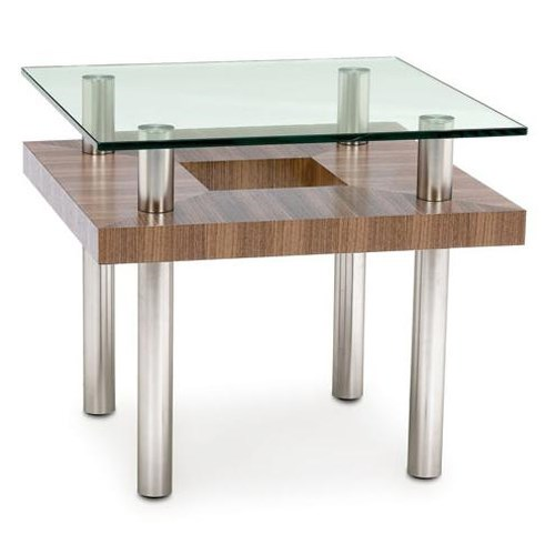 BDI Hokkaido Wood and Glass End Table with Metal Legs