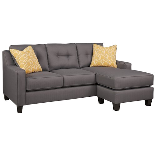Benchcraft Aldie Nuvella Queen Sofa Chaise Sleeper In Performance Fabric Dunk Bright