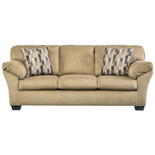 Ashley/Benchcraft Aluria Casual Contemporary Sofa with Corded Upholstery