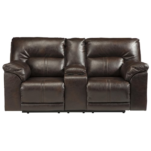 Benchcraft Barrettsville DuraBlend® Double Reclining Power Loveseat w/ Console