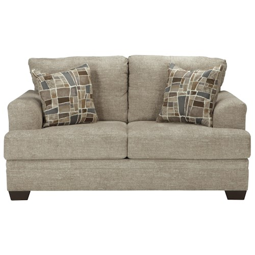 Ashley Barrish Contemporary Loveseat with Flared Arms