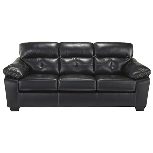 Benchcraft Bastrop DuraBlend - Midnight Contemporary Bonded Leather Match Full Sofa Sleeper