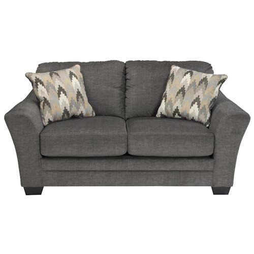 Benchcraft Braxlin Contemporary Loveseat in Gray Fabric