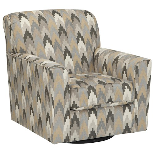 Benchcraft Braxlin Contemporary Swivel Accent Chair in Geometric Fabric