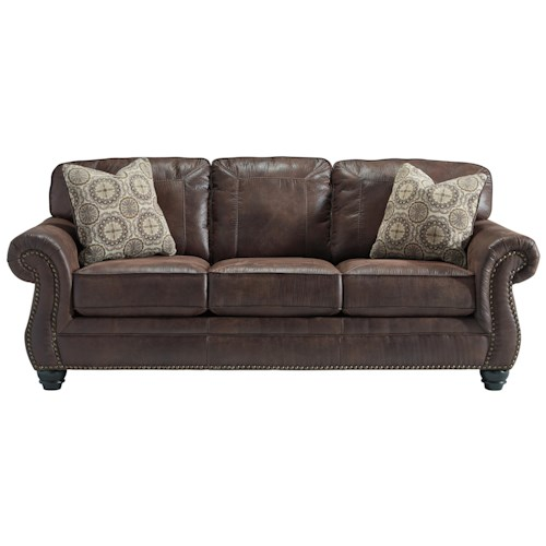 Ashley/Benchcraft Breville Faux Leather Queen Sofa Sleeper with Rolled Arms and Nailhead Trim