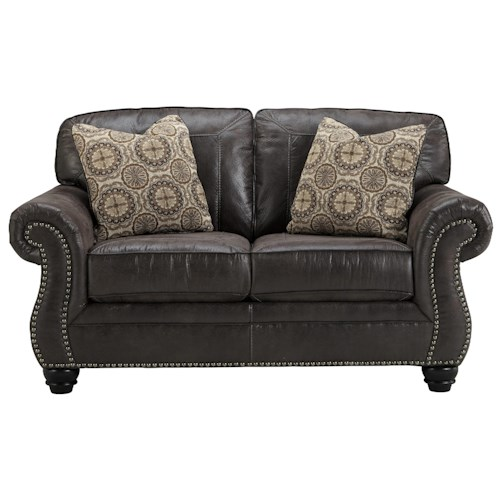 Ashley/Benchcraft Breville Faux Leather Loveseat with Rolled Arms & Nailhead Trim