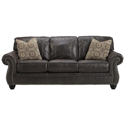 Ashley/Benchcraft Breville Faux Leather Sofa with Rolled Arms and Nailhead Trim