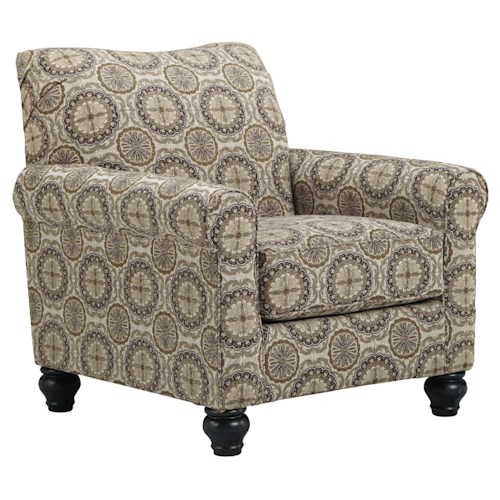 Benchcraft Breville Accent Chair with Bun Feet & Rolled Arms