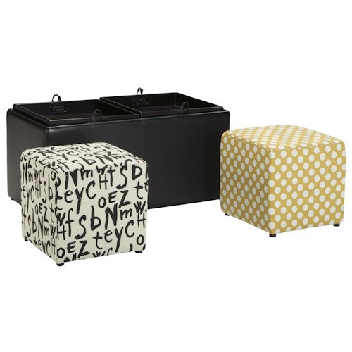 Ashley/Benchcraft Brindon Black Faux Leather Ottoman With Storage & Reversible Tray Tops