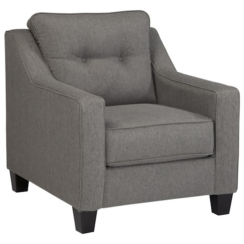 Ashley/Benchcraft Brindon Contemporary Chair with Track Arms & Tufted Back