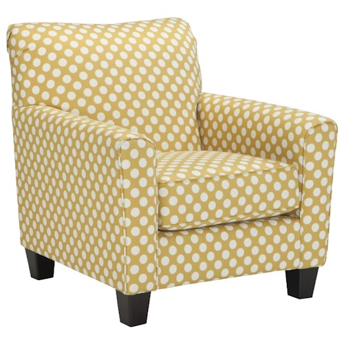 Ashley Brindon Accent Chair in Yellow Fabric with White Polka Dots
