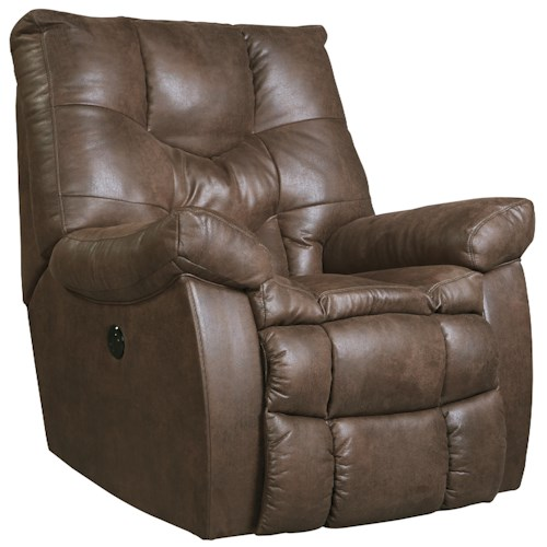 Benchcraft Burgett Faux Leather Power Rocker Recliner