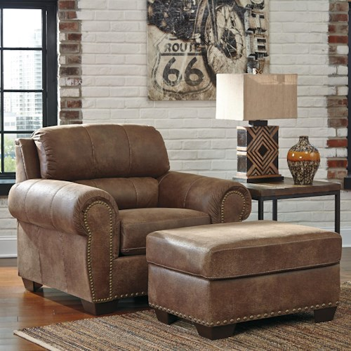 Benchcraft Burnsville Transitional Chair & Ottoman with Nailhead Trim