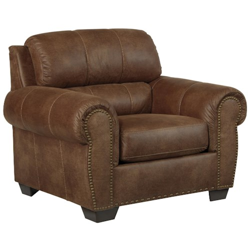 Benchcraft Burnsville Transitional Chair with Rolled Arms & Nailhead Trim