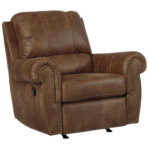 Benchcraft Burnsville Transitional Rocker Recliner with Rolled Arms and Nailhead Trim