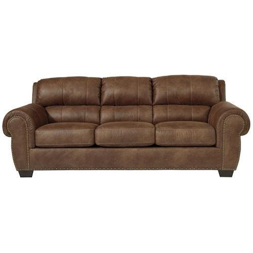 Benchcraft Burnsville Transitional Sofa with Rolled Arms & Nailhead Trim