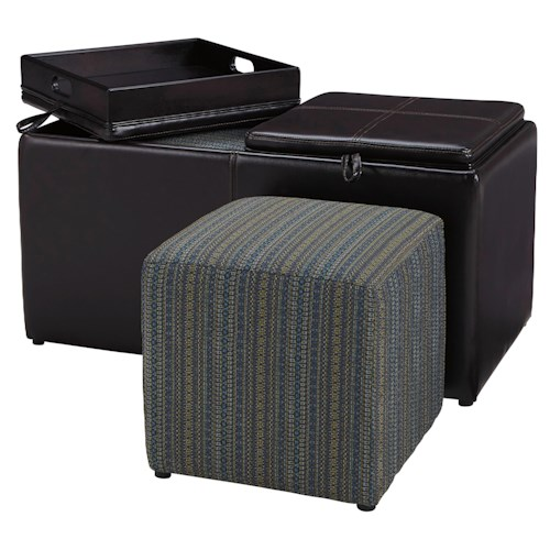 Benchcraft Casheral Faux Leather Cocktail Ottoman With Storage, Flip Tray Top, & Cube Ottomans