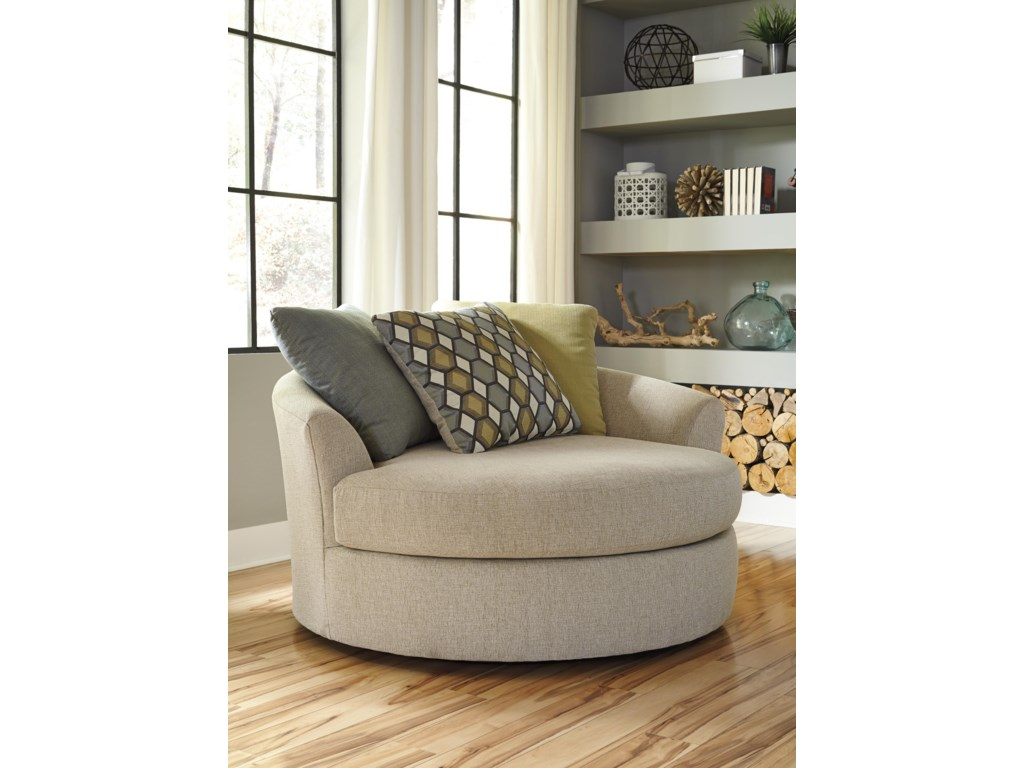 Oversized Swivel Chairs For Living Room Benchcraft Casheral Round Oversized Swivel Accent Chair With Loose