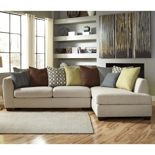 Benchcraft Casheral Contemporary 2-Piece Sectional with Right Chaise & Loose Back Pillows