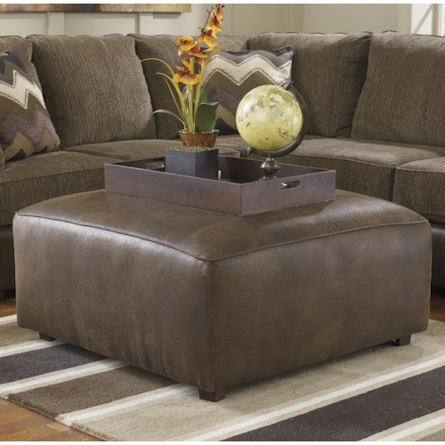 Benchcraft Cladio - Hickory Square Oversized Accent Ottoman