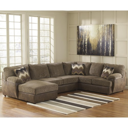 Ashley Cladio - Hickory 3-Piece Sectional with Left Chaise