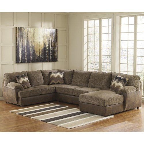 Benchcraft Cladio - Hickory 3-Piece Sectional with Right Chaise