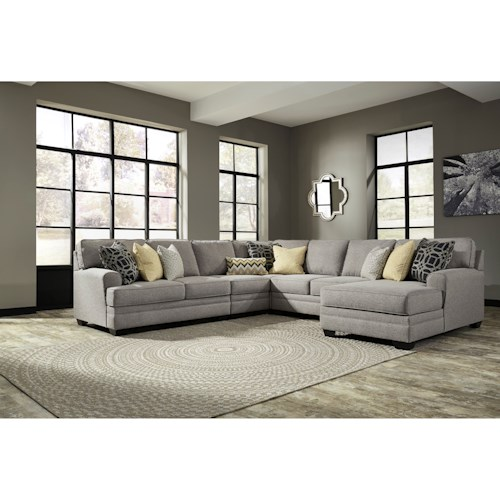 Ashley/Benchcraft Cresson Contemporary 5-Piece Sectional with Chaise