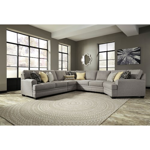 Benchcraft Cresson Contemporary 5-Piece Sectional with Cuddler